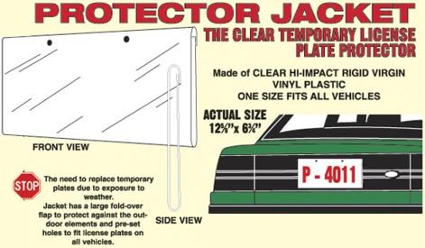 protector jacket for temporary license plate. Black Bedroom Furniture Sets. Home Design Ideas