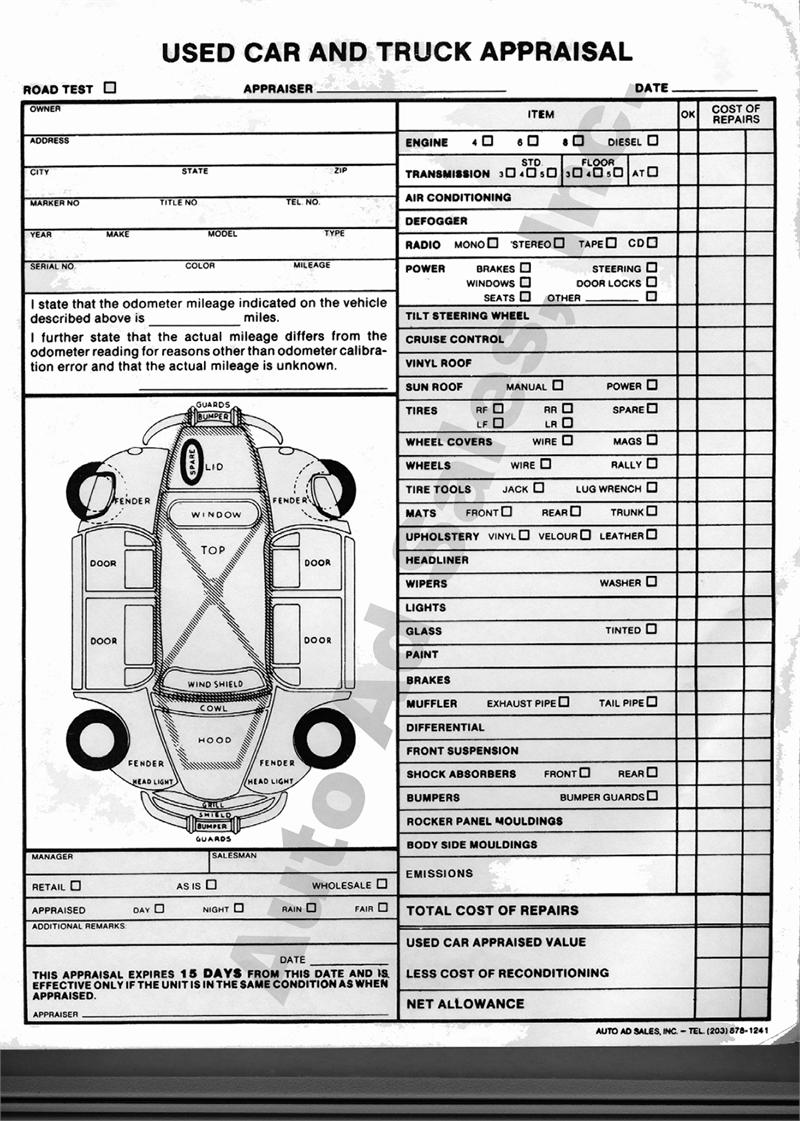 Used Vehicle Appraisal Forms
