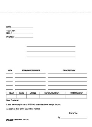 500 Part Order Forms