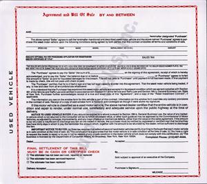 New York - Agreement & Bill of Sale For Used Motor Vehicle