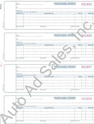 Dealership Purchase Order Forms