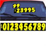 Neon Number Windshield Stickers