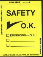 Emissions Test Safety OK Stickers